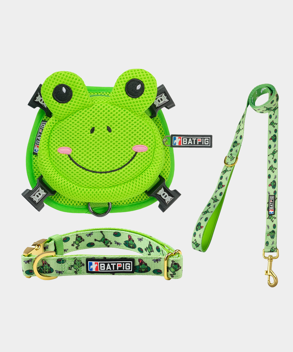 BATPIG Backpack Harness Froggy Dog with Collar and Leash