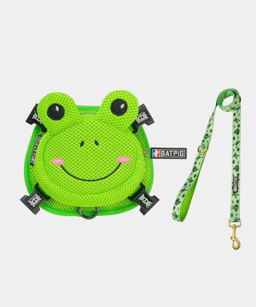 BATPIG Backpack Harness Froggy Dog with Leash