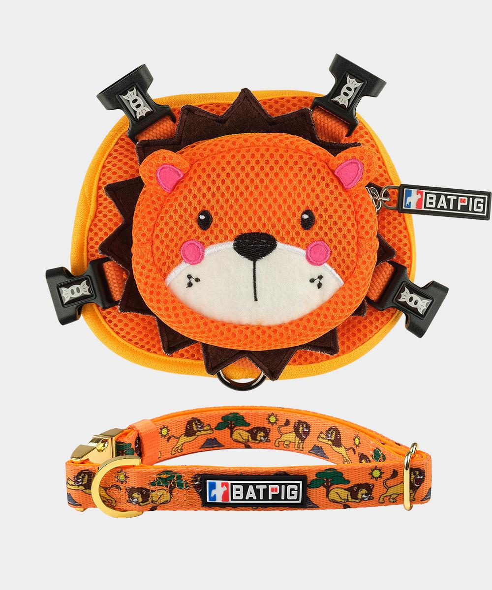 BATPIG Backpack Harness Orange Lion with Collar