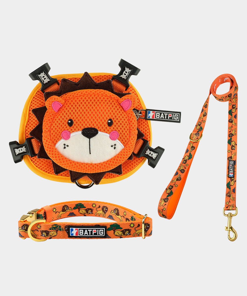 BATPIG Backpack Harness Orange Lion with Collar and Leash