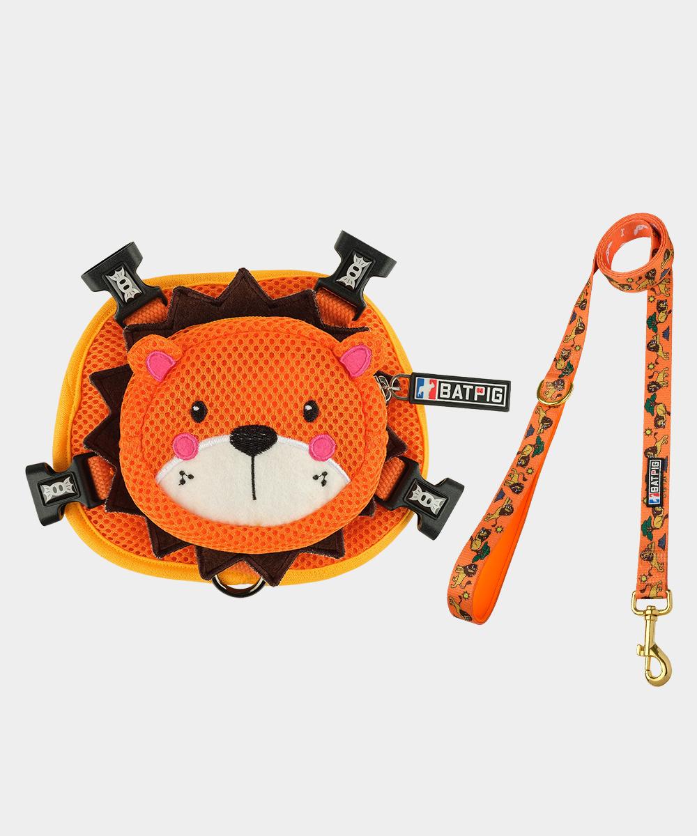 BATPIG Backpack Harness Orange Lion with Leash