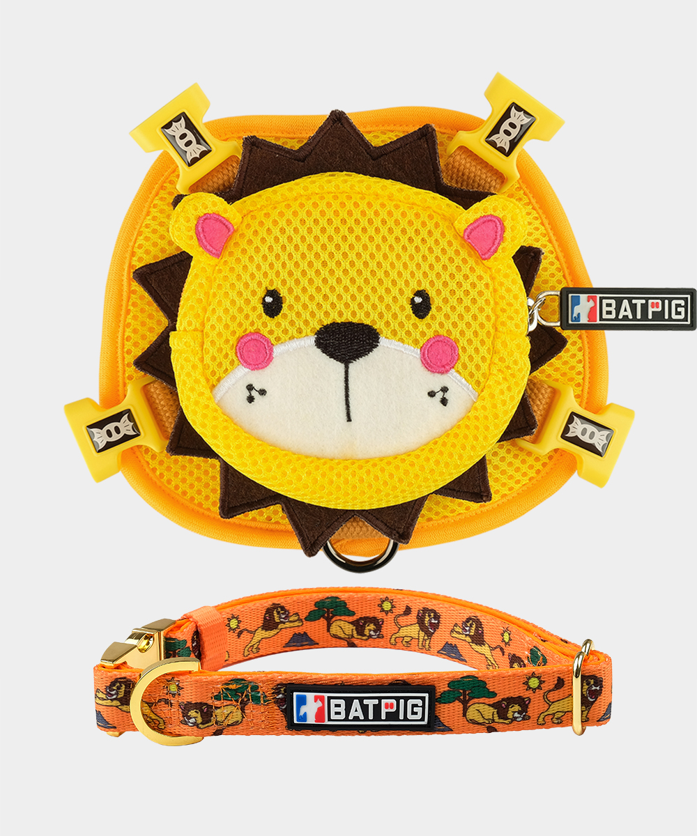 BATPIG Backpack Harness Yellow Lion with Collar