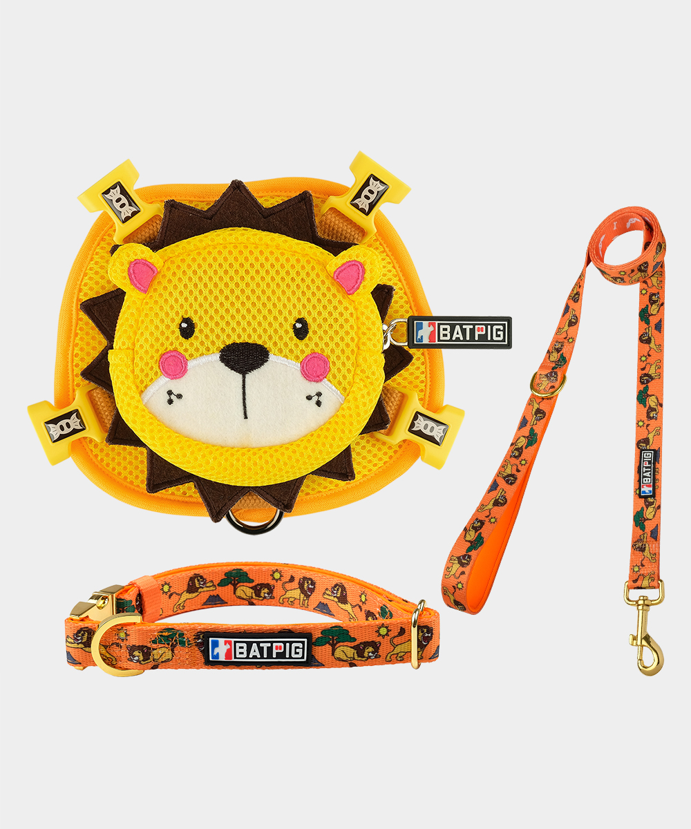 BATPIG Backpack Harness Yellow Lion with Collar and Leash