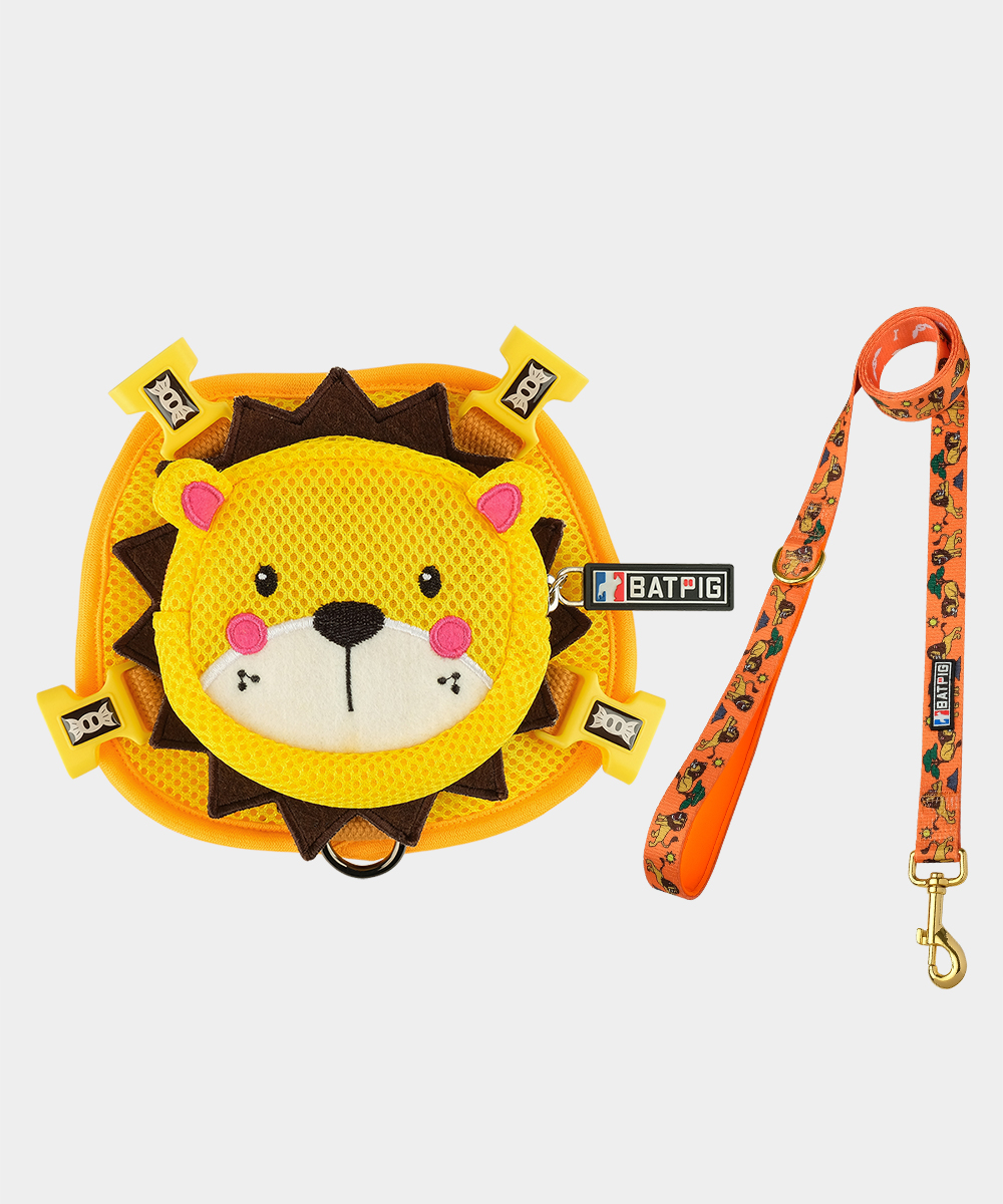 BATPIG Backpack Harness Yellow Lion with Leash