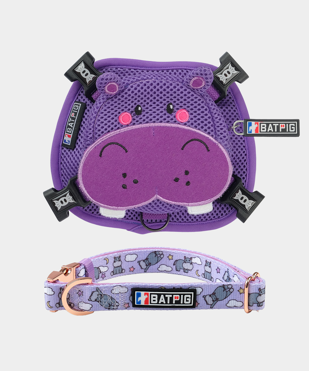 BATPIG Backpack Harness Purple Hippo with Collar