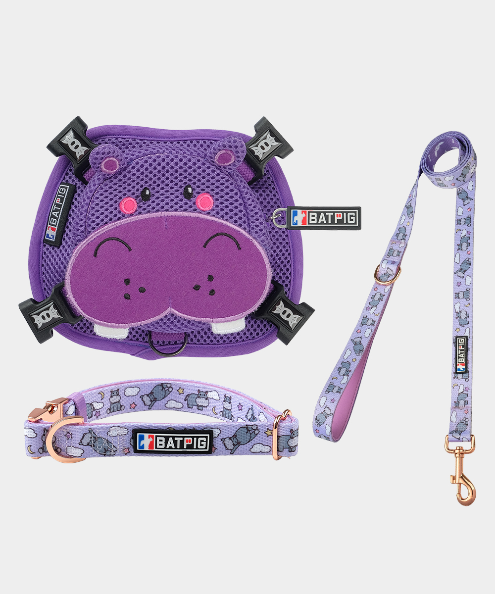 BATPIG Backpack Harness Purple Hippo with Collar and Leash