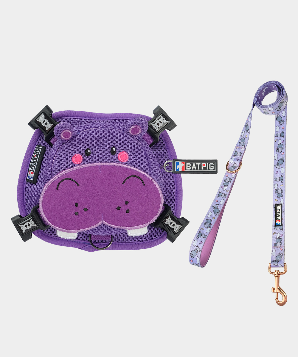 BATPIG Backpack Harness Purple Hippo with Leash